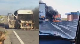 Пять человек чудом не пострадали при пожаре на трассе Павлодар-Семей
