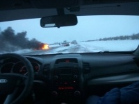 В лобовом  столкновении на трассе Павлодар - Омск пострадали три человека