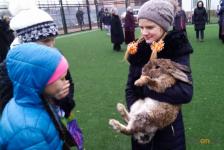 В селе Павлодарском юным умельцам вручили кроликов