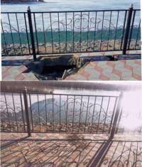Провалившийся участок тротуара на павлодарской набережной восстановили