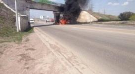 Водитель Mercedes сгорел заживо в авто на трасcе Караганда - Темиртау