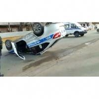 В Павлодаре в результате ДТП перевернулась полицейская машина