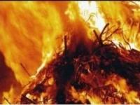 Тридцать тонн сена сгорело в частном подворье в Павлодарской области