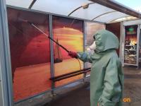 В Павлодаре в рамках профилактики коронавируса проводят дезинфекцию автобусных остановок