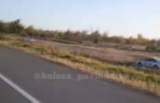 Полицейскую погоню сняли на видео очевидцы в Павлодарской области