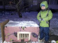 Теплый домик для замерзающих уличных кошек построил пятилетний павлодарец