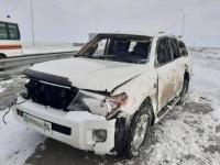 """""""Тойота"""" перевернулась на трассе в Павлодарской области, два человека погибли"""