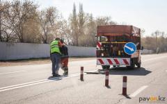 В Павлодаре приступили к нанесению дорожной разметки