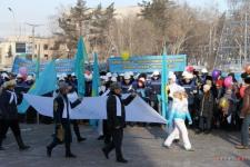 В Павлодаре у Дома дружбы торжественно подняли флаг Года АНК