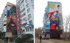 Две девятиэтажки в Экибастузе художники украсили стрит-артом