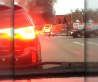 В Павлодаре сгорел микроавтобус