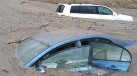 В США 200 автомобилей одновременно утонули в грязи во время оползня