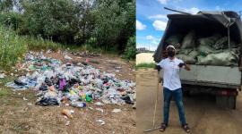 Павлодарские волонтеры собрали тонну мусора, оставленного отдыхающими на берегу Усолки