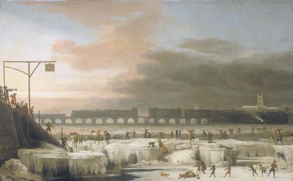 «The Frozen Thames 1677» участника Абрахам Хондиус - Original painting in the collection of the Museum of London. Под лицензией Общественное достояние с сайта Викисклада - https://commons.wikimedia.org/wiki/File:The_Frozen_Thames_1677.jpg#/media/File:The_Frozen_Thames_1677.jpg